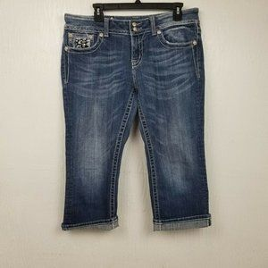 Miss Me Womens Easy Capris Blue Jeans 31 Cropped